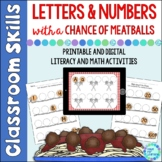 Letters & Numbers With a Chance of Meatballs Literacy and Math Centers