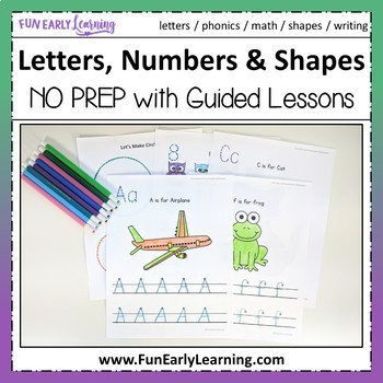 Letters, Numbers, Shapes Worksheets & Guided Lessons Bundled - 2 Writing Lines