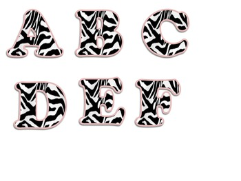 Letters, Numbers, and Symbols (Zebra and Pink)