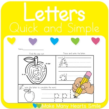 Letters Picture Mazes Worksheets