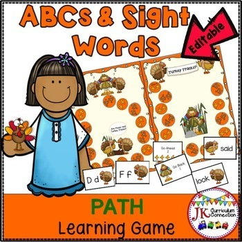 Letters & Sight Word Path Game: Thanksgiving Theme {EDITABLE}