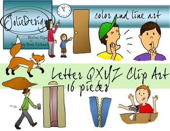 Letters QXYZ Clip Art - Color and Line Art 16 pc set