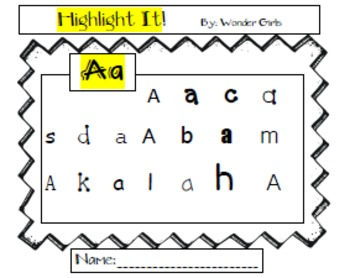 Letters Recognition A-Z Highlight It!