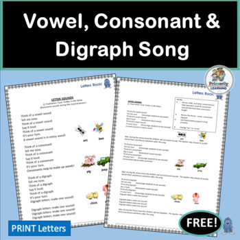 FREE! Vowel, Consonant & Digraph Song with chart and mp3 | Phonics is Jolly Fun!