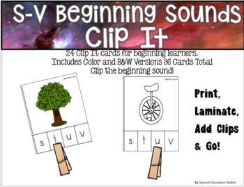Letters S-V Beginning Sounds Clip It {A Beginning Work Task)