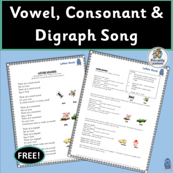 FREE! Vowel, Consonant & Digraph Song with chart and mp3 (SASSOON)