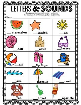 Letters & Sounds Printable Sheets for Kindergarteners! ( Beach Edition)