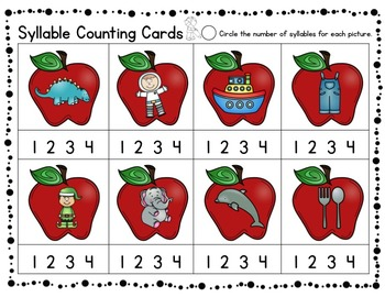 Letters & Sounds, Rhyming & Syllable Counting Center Activities - Apples!