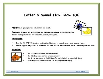 Letters & Sounds TIC-TAC-TOE activity