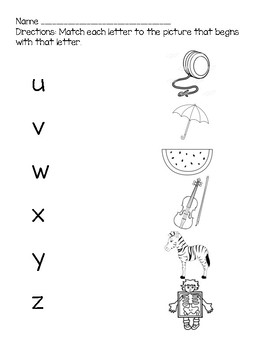 Letters U-Z Phonics Practice