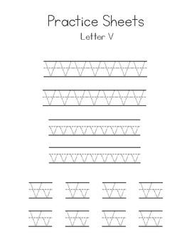 Letters U-Z Writing Practice Worksheets