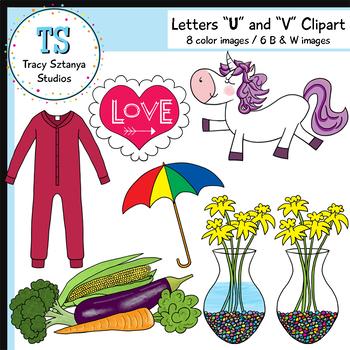 "Letters ""U"" and ""V"" Clipart Set {Tracy Sztanya Studios}"