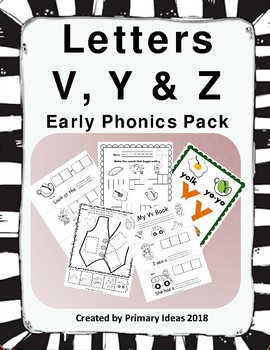 Letters V, Y and Z: Phonics Pack
