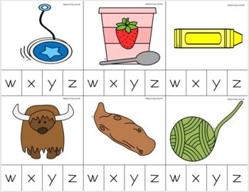 Letters W-Z Beginning Sounds Clip It {A Beginning Work Task)