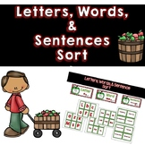 Letters, Words, Sentences Sort