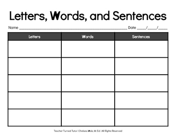 Letters, Words, and Sentences Graphic Organizer
