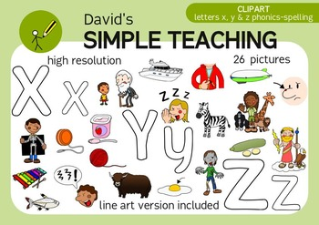 Letters X, Y & Z phonics - spelling clipart with free preview