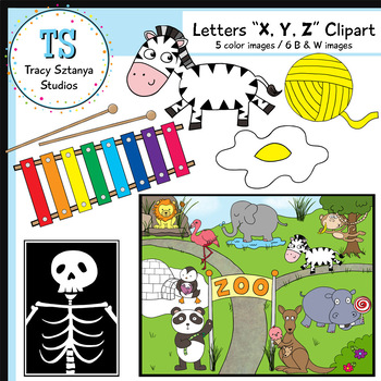 "Letters ""X, Y, and Z"" Clipart Set {Tracy Sztanya Studios}"