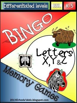 Letters X,Yand Z Bingo