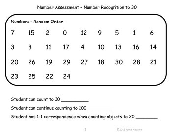 Letters and Numbers Assessment Pages