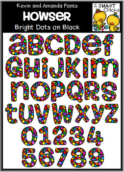 Letters and Numbers Clip Art - HOWSER (Bright Dots on Black Pattern)