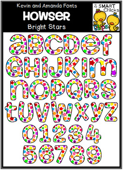 Letters and Numbers Clip Art - HOWSER (Bright Stars Pattern)