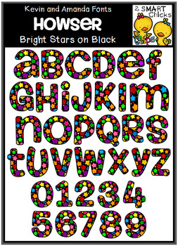 Letters and Numbers Clip Art - HOWSER (Bright Stars on Black Pattern)