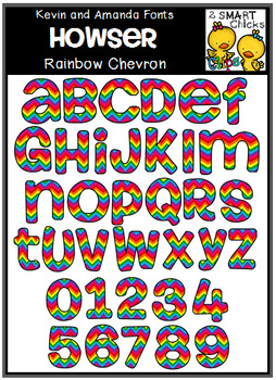 Letters and Numbers Clip Art - HOWSER (Rainbow Chevron Pattern)