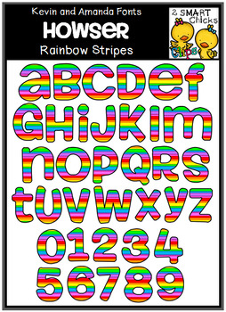Letters and Numbers Clip Art - HOWSER (Rainbow Stripes Pattern)