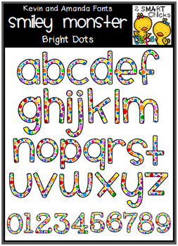 Letters and Numbers Clip Art – SMILEY MONSTER (Bright Dots Pattern)
