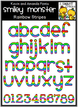 Letters and Numbers Clip Art – SMILEY MONSTER (Rainbow Stripes Pattern) FREEBIE