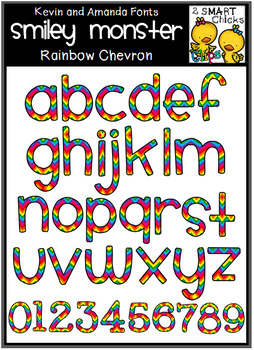 Letters and Numbers Clip Art – Smiley Monster (Rainbow Chevron)