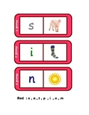 Letters and Sounds 28 phonics dominoes in red  , phase 2 (s,a,t,p,i,n,m).