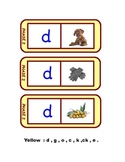Letters and Sounds 28 phonics dominoes in yellow  , phase 2 (d,g,o,c,k,ck,e.)