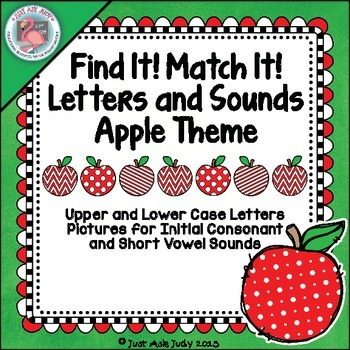 Letters and Sounds Apple Theme Find It! Match It!