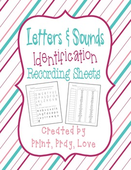 Kindergarten Letters and Sounds Identification Record Sheets
