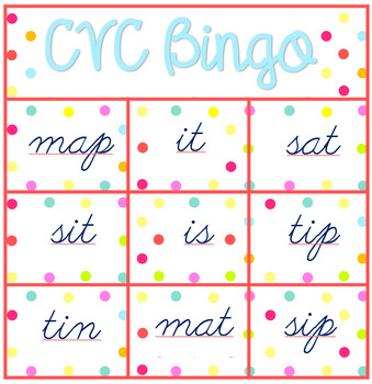 Letters and Sounds Phase 2 CVC words Bingo