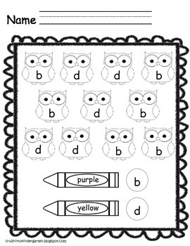 Letters b and d color sheet owls