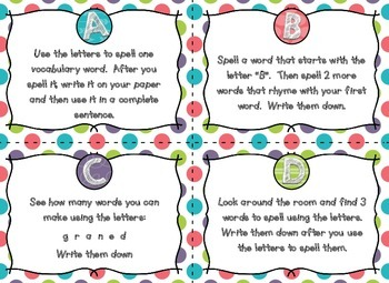 Letters for Learning Task Cards