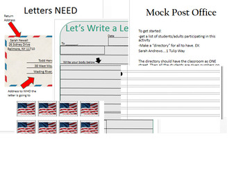 Letters for Literacy/Mock Post Office materials included