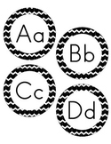 Letters for Word Wall - Black and White Mini Chevron Pattern