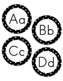 Letters for Word Wall - Black and White Polka Dot Pattern