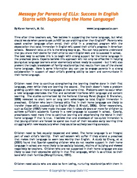 Letters for parents of bilingual students and preschool DLLs English/Spanish