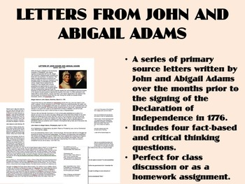 Letters from John and Abigail Adams - American Revolution - USH/APUSH