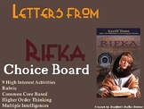 Letters from Rifka Choice Board Novel Study Activities Menu Book Project Rubric