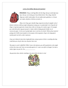 Letters from Rifka: Rucksack Assignment