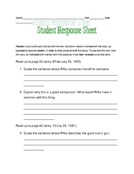 Letters from Rifka response sheets p. 30-47