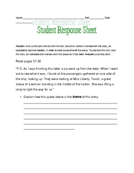 Letters from Rifka response sheets pages 57-62