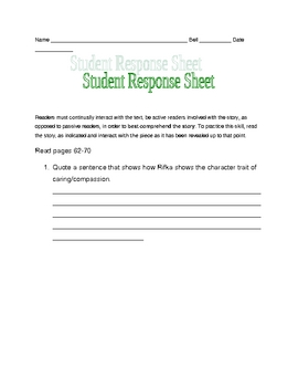 Letters from Rifka response sheets pages 62-70