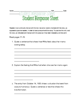 Letters from Rifka response sheets pages 71-79